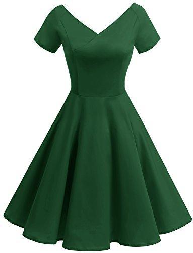 1950s Gardenwed Rockabilly Neck Green V Vintage Retro Dress Dress Party Cocktail Women's Evening rIw0Zr
