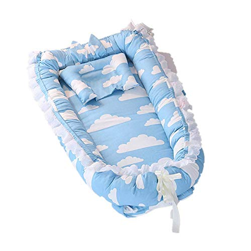 ABenkle Ruffled Baby Bassinet for Bed, Baby Lounger, Blue Breathable & Hypoallergenic Co-Sleeping Baby Bed - 100% Cotton Portable Crib for -
