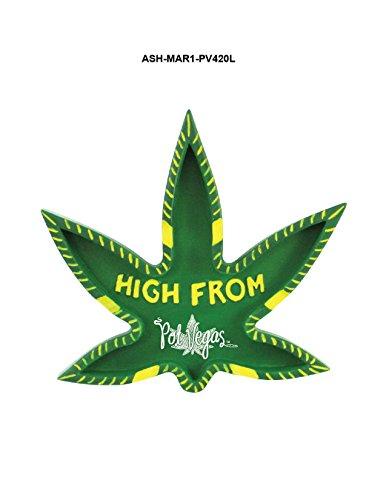 Rockin Gear Ashtray Pot Vegas (Not Las Vegas LOL) Marijuana Leaf Shaped Unique Joint Ashtray - ''HIGH from Pot Vegas' 420 Friendly Pot Cannabis Cigarette Ashtray ()