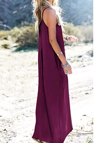 YACUN Mujeres Hippie Boho Vestidos Correa Profundo Cuello En V Loose Long Dress Purple