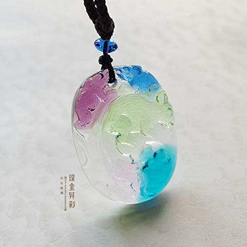 option custom 36 yuan genuine healing glass necklace pendant chain special men women girls animal year zodiac constellation (a mouse
