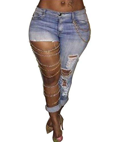 Crayon Slim Bleu Pantalons Denim Haute Jeans Clair Dchirs en Rtro Taille Pantalon Femme Px81wCzqn
