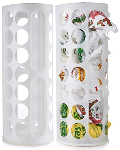 Grocery Bag Storage Holder – Large Capacity Bag Dispenser to Neatly Store Plastic Shopping Bags and Keep Handy for Reuse. Access Holes Make Adding or Retrieving Bags Simple and Convenient. (2-Pack)