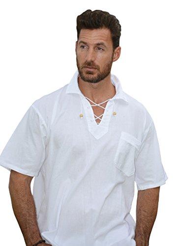 Drawstring Shirt - Cotton Natural Kauai Bead Drawstring Short Sleeve Shirt (X-large, White)