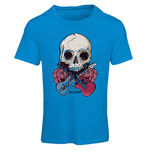 lepni.me T Shirts for Women Rock'n'Roll (Small Blue Multi Color) -