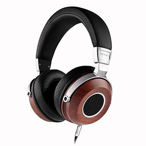 SIVGA SV004 Hi-Fi Wood Over-Ear Stereo Open Back Wired Headphones Passive Noise Cancelling, Built-in Mic, Soft Earmuffs with Carrying Case ()