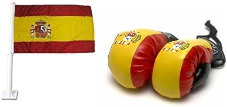 Bandera de España para el coche y mini guantes de boxeo Pack combo: Amazon.es: Deportes y aire libre