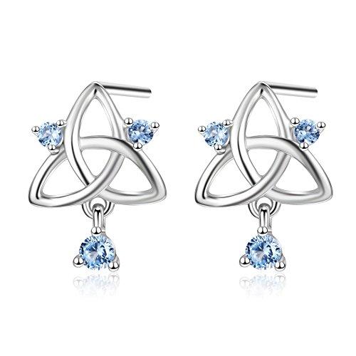 Celtic Knot Flower Ring (Angel caller 925 Sterling Silver Religious Jewelry Good Luck Celtic Knot Stud Earrings For Women (Blue))