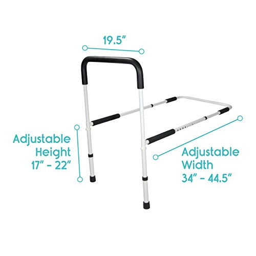 Bed Rail by Vive - Bed Assist Bar for Adults, Seniors, Elderly & Handicap - Adjustable Safety Guard Fits King, Queen, Full & Twin Beds - Bed Side Cane Grab Bar