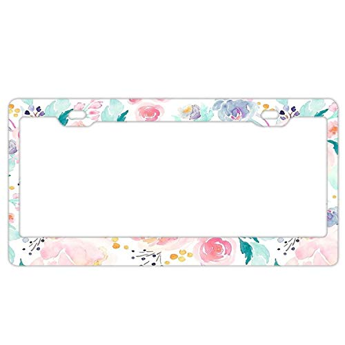- Floral Retro License Plate Frame,Car Tag Frame, Aluminum License Plate Holder, Cute License Plate Frame