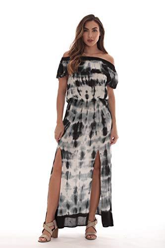 Riviera Sun Rayon Crepe Tie Dye Maxi Dress 21894-BLK-2X Black