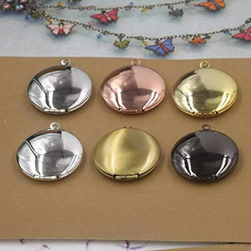 Rouge Box Round Frame Locket Bronze Gold Silver Black Pendant | Vintage Craft Jewelry Charm (3631Mm 10Pcs 7Color) (KC Gold - Sterling Kc Pendant Silver
