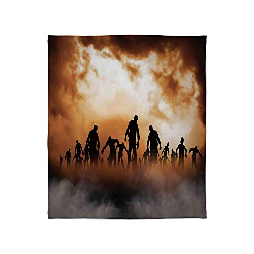 ALUONI Lightweight Blanket,Halloween Decorations,for Bed Couch Chair Fall Winter Spring Living Room,Size Throw/Twin/Queen/King,Zombies Dead Men Body in The Doom -
