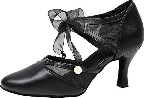 CFP Zapatillas de Danza de Poliuretano Para Mujer Negro Negro NVZer