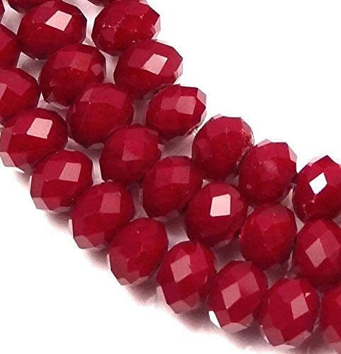 (6x4mm Faceted Ruby Glass Quartz Rondelle Beads (45), Beading, Jewelry Making, DIY Crafting, Arts & Sewing by Perfect Beeds Store)