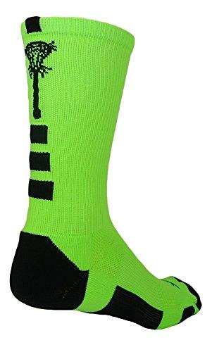 Midline Lacrosse Logo Crew Socks (Neon Green/Black, Small)