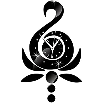 ChezMax DIY Wall Hanging Clock Decal Murals 3D Lotus Swan Wallpaper Sticker for Home Decorations
