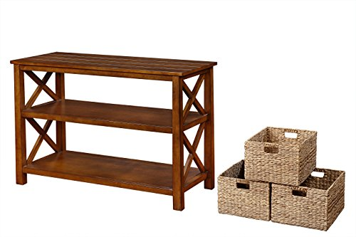 eHemco X Side Console Sofa Table with 2 Shelves and 3 Baskets (With Console Baskets Table)