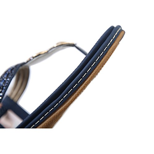 Lisianthus002 Women's Bohemian Flat Sandal Summer T-Strap with Rhinestone Slip on Navy Blue VQUAevK