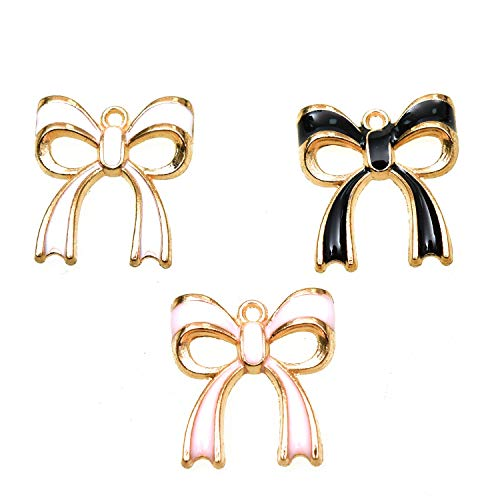 Monrocco 20PCS 3 Color Bowknot Gold Plated Dangle Charms Bowknot Alloy Enamel Accessories for Jewelry Making and Crafting