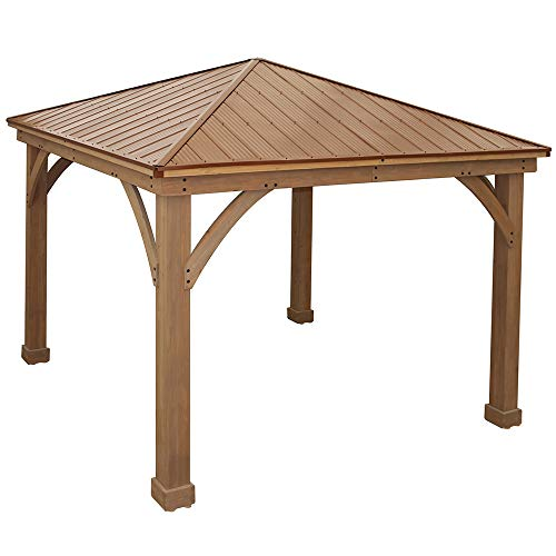 Yardistry 12#039 x 12#039 Gazebo with Sable Brown Aluminum Roof