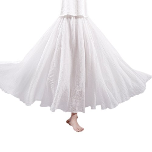 (Ezcosplay Women Bohemian Cotton Linen Double Layer Elastic Waist Maxi Long Skirt Beach Skirt)