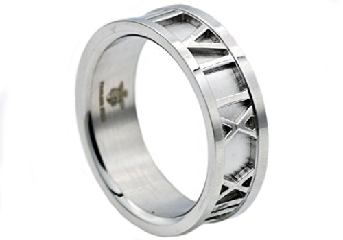 Blackjack Jewelry Mens Stainless Steel Roman Numeral Ring ()