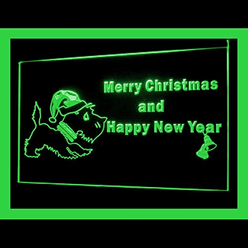 150054 Scottie Dog Christmas Bell Pine Display LED Light Sign ()