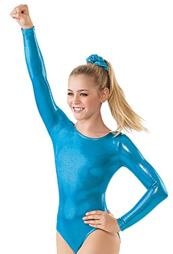 Balera Leotard Girls One Piece For Gymnastics With Metallic And Long Sleeves For Practice And Competition