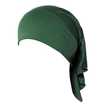 Weixinbuy Women's Muslim Soft Comfortable Inner Hijab Caps Free Size Army Green