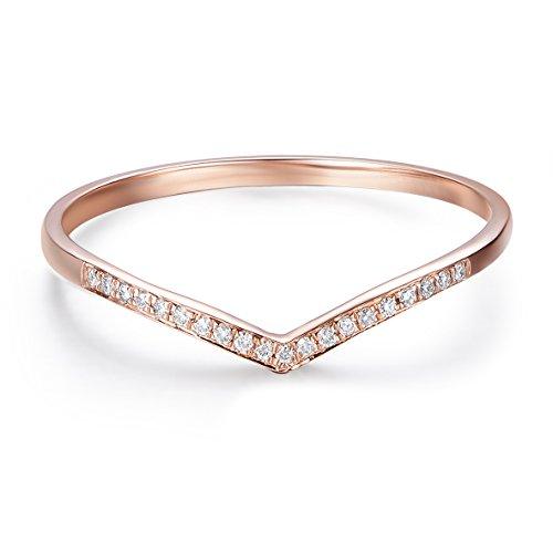 Hafeez Center 14K Gold Round Diamond Wedding Band V Shape Curved Wedding Ring Band (Rose-Gold, 7.5)