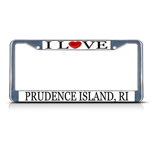 License Plate Frame I Love Heart Prudence Island, Ri Aluminum Metal License Plate Frame