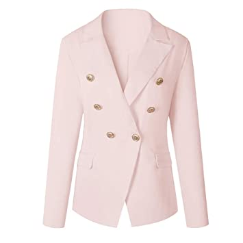 a2dc3d4c2b973 Amazon.com: gLoaSublim Blazer for Women,Solid Color Lapel Long ...