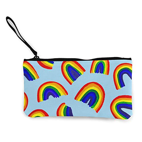 Oomato Canvas Coin Purse Colorful Rainbow Cosmetic Makeup Storage Wallet Clutch Purse Pencil Bag]()