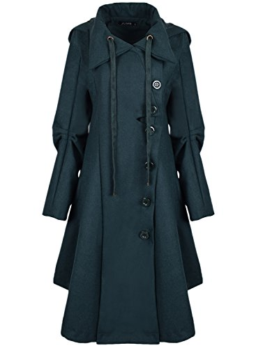 Azbro Women Winter Outdoor Wool Blended Classic Pea Coat Jacket, Dark Green XXL