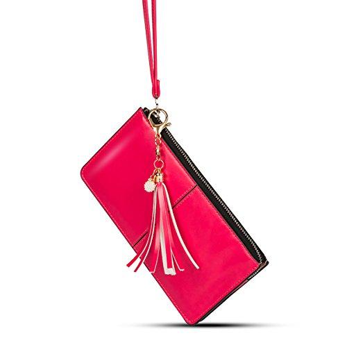 (xhorizon SR Soft Leather Tassels Wristlet Smartphone Zipper Handbag Wallet Clutch Organizer with Exquisite Tassel/Card Slots/Cash pocket/Wrist Strap (fit iPhone X 8plus 8 7plus/Galaxy S9plus S9 Note8))