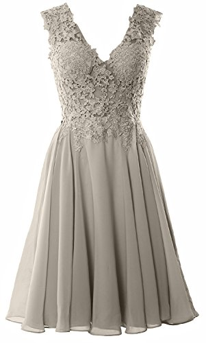 MACloth Women Straps V Neck Lace Chiffon Cocktail Dress Short Prom Formal Gown (4, Silver) (Plus Size 90s Fancy Dress)