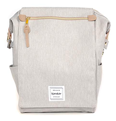 KJARAKÄR Backpack All Around Great Bag for Commuters,Travelers, Moms, Dads and Kids. Use as Diaper Bag, Gym Bag, Bookbag and More! TSA Friendly | Water Resistant (Light Grey)