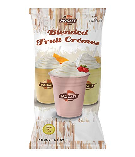 MOCAFE Blended Fruit Cremes Strawberry, 3-Pound Bag Instant Smoothie Mix, Coffee House Style Blended Drink Used in Coffee Shops