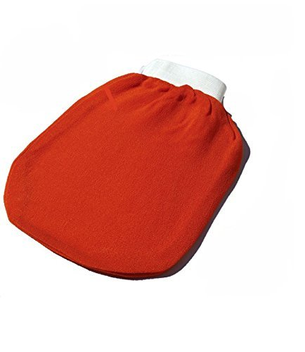 Premium quality Exfoliating Bath Glove REAL Kessa Glove (Moroccan Hammam) Eliminate Dry, Dead Skin - SweetSunnah Orange stitched