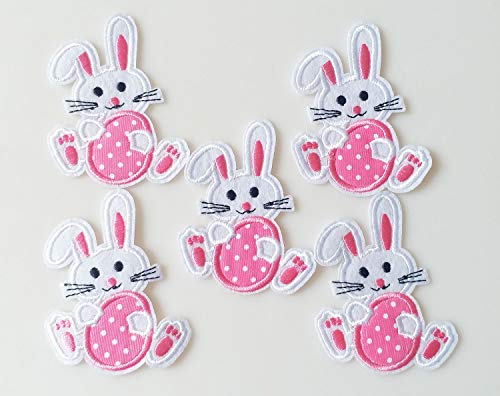 (6.5x7.5cm 10pcs Easter Day Bunny Rabbit with Pink Egg Iron On Sew On Cloth Embroidered Patches Appliques Machine Embroidery Needlecraft Sewing Projects)