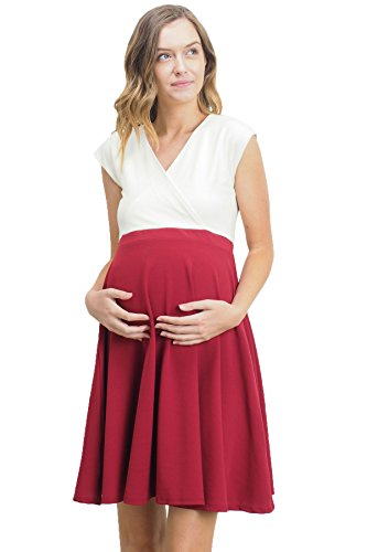 LaClef Women's Surplice Skater Nursing Friendly Maternity Dress (Large, Ivory/Burgundy) by LaClef