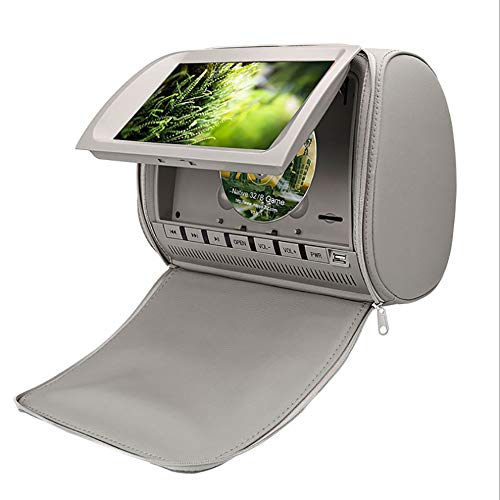 Car Headrest 9 Inch HD Large Digital Screen DVD Display Audio Video TV Player Support MP5 Format (Grey)