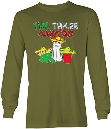 The Three Amigos - Cinco De Mayo Tequila Unisex Long Sleeve Shirt (Olive, XX-Large)
