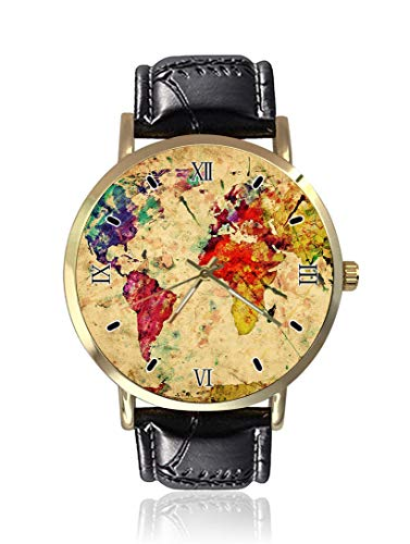 Vintage World Map Michal Bednarek Wrist Watch Unisex Fashion Black Leather Strap Stainless Steel Round Gold Dial Plate Wristwatch (Map Watches)