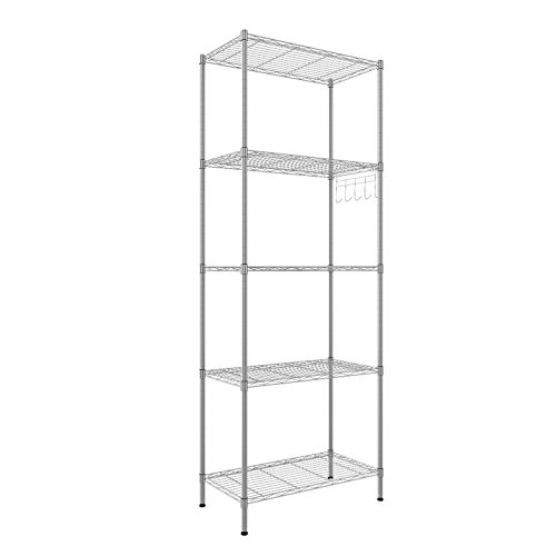 (Hufcor 5 Tier Tall Free-Standing Storage Shelves Organizer, Heavy Duty Steel Industrial Shelving Unit, Silver, 21