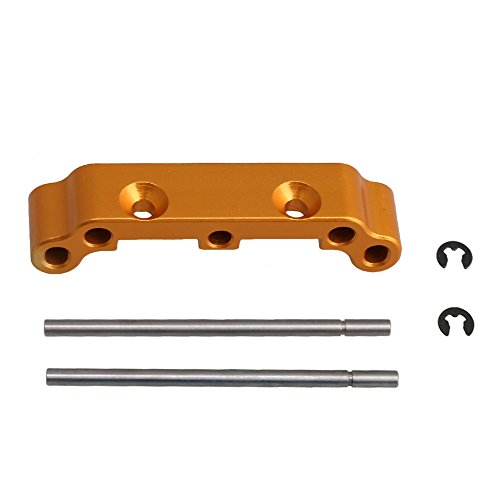 (BQLZR 1PCS Yellow Aluminum Alloy Front Rear Suspension Arm Holder with Hinge Pins for HIMOTO E10xB E10xBL E10DB E10DBL E10SC E10SC RC1:10 OFF-Road Car Buggy)