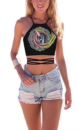 - JomeDesign Women's Summer Halter Cross Hollow Boho Bandage Tank Camis Crop Top Vest