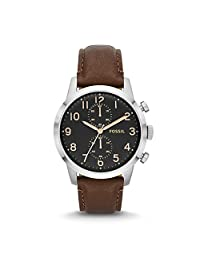 Fossil Men's FS4873 Townsman Stainless Steel Watch With Brown Leather Band