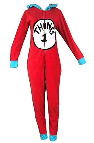 (Womens Dr. Seuss Thing 1 Pajama Onesie Costume)
